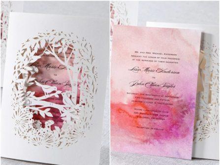 Thiệp cưới đẹp cắt laser in màu loang nghệ thuật