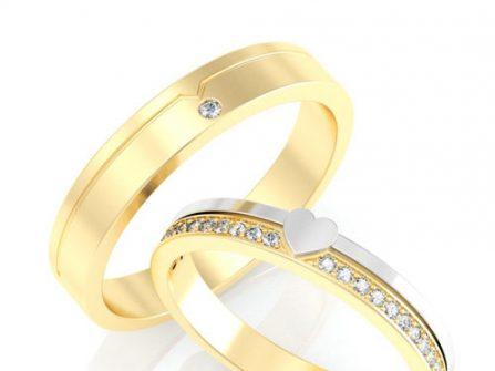 Nhẫn cưới vàng phối vàng trắng mặt khắc hình trái tim