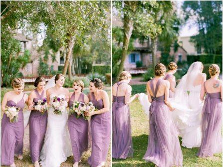 Váy phụ dâu màu tím violet chất voan mềm mại