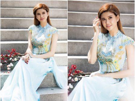Áo dài cưới đẹp tay ngắn màu xanh dương pastel