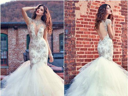 Váy cưới đuôi cá kết hạt đá, lưng trần gợi cảm