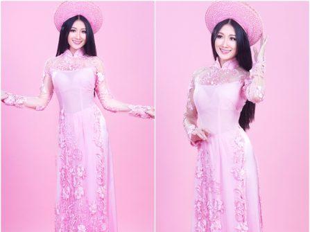 Áo dài cưới đẹp màu hồng phấn đính ren hoa nổi