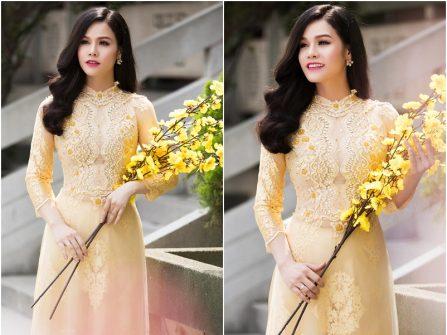 Áo dài cưới đẹp màu vàng chanh phối ren và đính đá