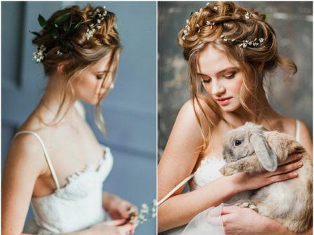 Tóc cưới đẹp thắt bím phối dây hoa lãng mạn