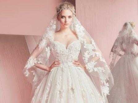 Váy cưới công chúa tuyệt đẹp kết ren hoa nổi