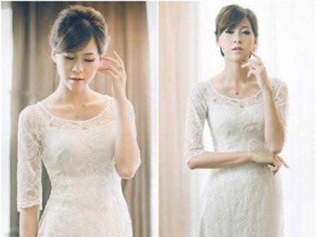 Áo dài cưới đẹp tay lỡ, cổ thuyền chất ren hoa nổi