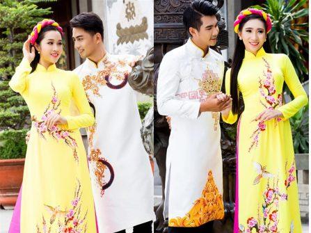 Áo dài đám hỏi cho cặp đôi yêu phong cách hoài cổ.