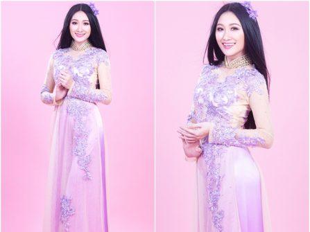 Áo dài cưới đẹp màu hồng phấn thêu ren tím pastel ngọt ngào