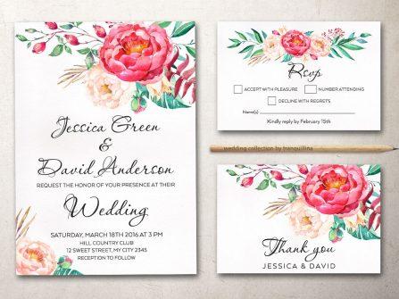 Thiệp cưới đẹp vẽ màu nước họa tiết hoa mẫu đơn