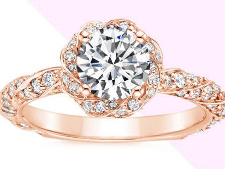 Nhẫn đính hôn vàng hồng đính kim cương lộng lẫy