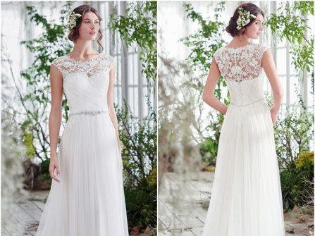 Váy cưới đẹp dáng suôn lưng áo phối ren gợi cảm