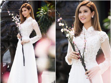 Áo dài cưới đẹp màu trắng chất voan phối ren hoa nổi