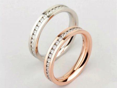 Cặp nhẫn cưới đẹp vàng trắng và vàng hồng đính đá tinh tế