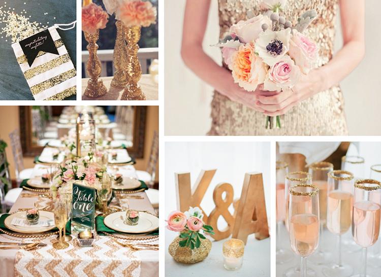 Theme cưới đẹp lấp lánh kim tuyến ánh vàng sang trọng