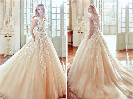 Váy cưới đẹp phong cách công chúa chất voan đính hoa ren nổi