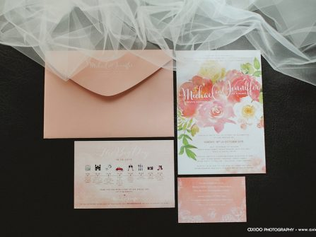 Thiệp cưới đẹp màu hồng thạch anh vẽ hoa màu nước