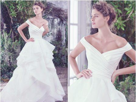 Váy cưới đẹp trễ vai chân váy xếp tầng bồng bềnh
