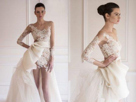 Áo cưới đẹp dáng high-low xuyên thấu giúp cô dâu khoe vẻ gợi cảm