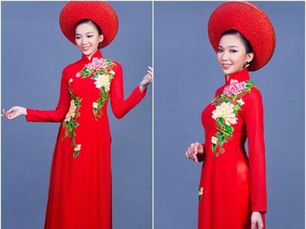 Áo dài cưới đẹp màu đỏ chất lụa in họa tiết hoa mẫu đơn