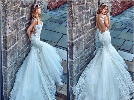 Váy cưới đuôi cá lưng trần gợi cảm, đuôi váy voan phối ren