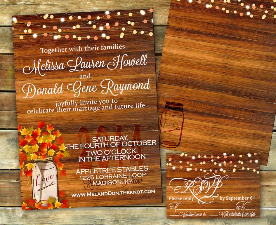 Thiệp cưới đẹp phong cách rustic cho tiệc cưới mùa thu