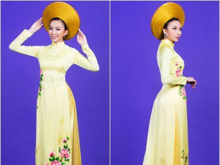Áo dài cưới đẹp màu vàng chanh vẽ họa tiết hoa mẫu đơn