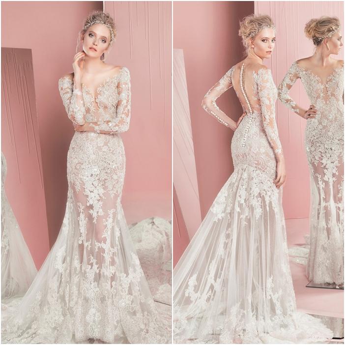 Váy cưới đẹp tuyệt vời chất liệu ren xuyên thấu quyến rũ
