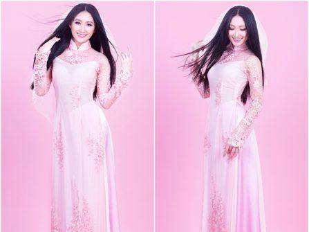 Áo dài cưới đẹp màu hồng phấn, chất voan phối ren thêu