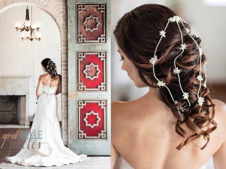 Tóc cô dâu đẹp uốn lọn phủ phụ kiện đá kiêu sa