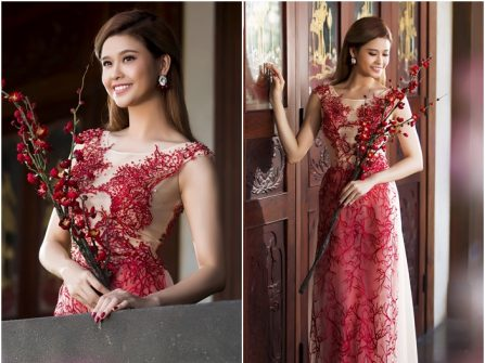 Áo dài cưới đẹp chất voan thêu ren gân nổi màu đỏ sang trọng