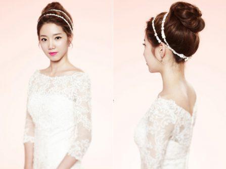Tóc cô dâu đẹp bới cao phong cách Hàn Quốc