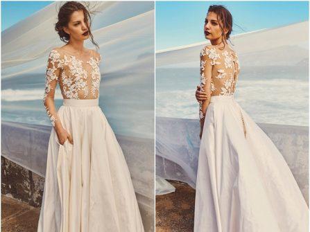 Váy cưới đẹp chất voan xuyên thấu phối ren hoa nổi quyến rũ