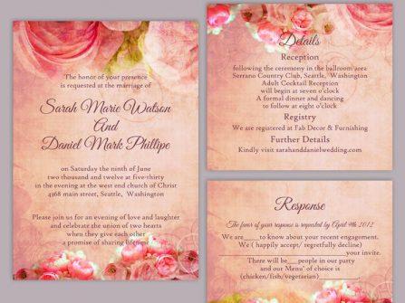 Thiệp cưới đẹp màu hồng phong cách in hoa vintage