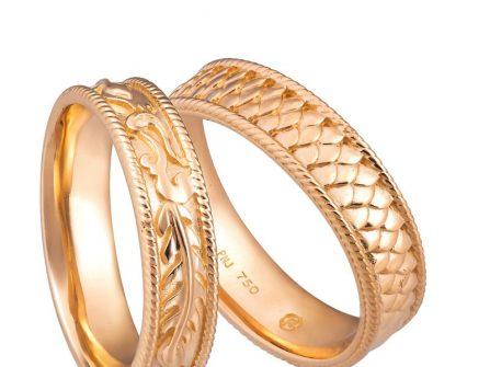 Nhẫn cưới vàng họa tiết long phụng cổ điển, sang trọng