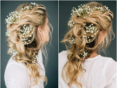 Tóc cô dâu đẹp thắt bím lỏng tay, kết hoa baby tinh khiết