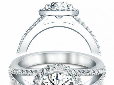 Nhẫn đính hôn tuyệt đẹp đính kim cương cầu kỳ