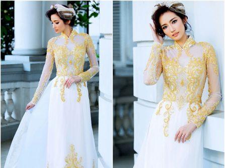 Áo dài cưới đẹp màu trắng chất voan thêu ren nổi màu vàng