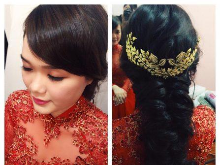 Tóc thắt bím lỏng cho cô dâu thêm đẹp trong bộ áo dài