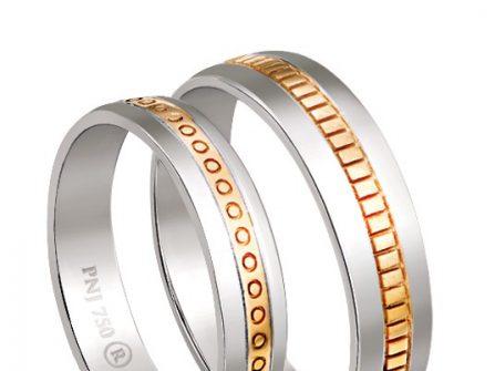Nhẫn cưới vàng trắng phối họa tiết trang trí vàng tây độc đáo