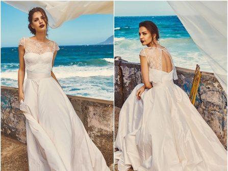 Váy cưới đẹp dáng xòe đơn giản kết hợp crop top ren