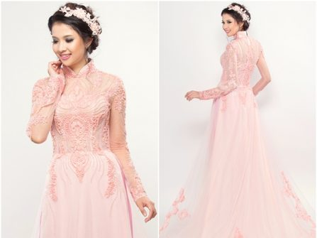 Áo dài cưới đẹp màu hồng phấn thêu ren nổi cầu kỳ