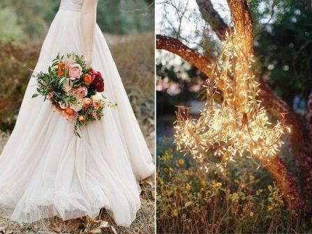 Theme cưới đẹp tông nâu, đỏ thẫm và tím cho tiệc cưới cuối năm