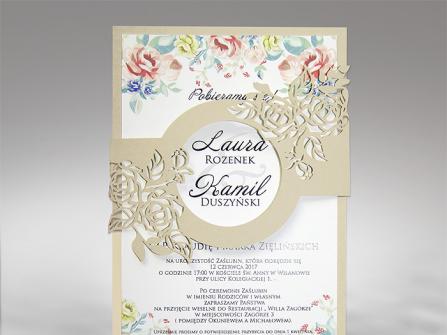 Thiệp cưới đẹp in hoa cắt laser họa tiết hoa hồng