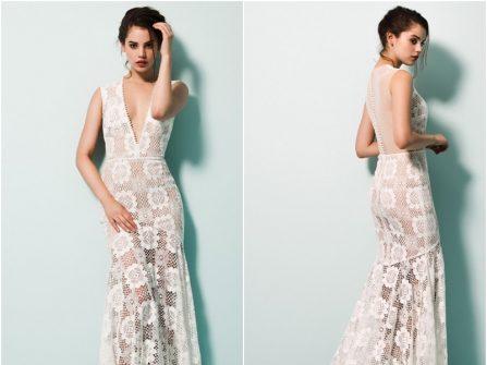 Váy cưới đẹp chất ren xuyên thấu, ngực áo xẻ sâu táo bạo