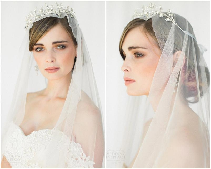Tóc cưới đẹp búi thấp phối lúp voan và vương miện đính đá