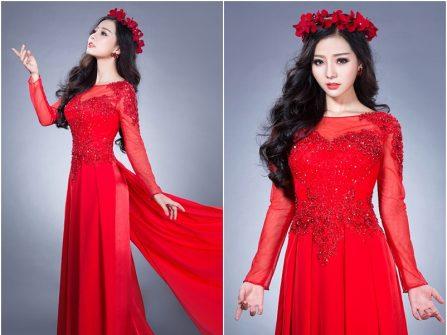 Áo dài cưới đẹp màu đỏ, ngực áo kết cườm và kim tuyến