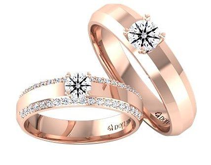 Nhẫn cưới đẹp vàng hồng đính kim cương mặt cắt độc đáo