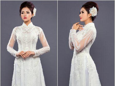 Áo dài cưới đẹp màu trắng thêu ren nổi tỉ mỉ và cầu kỳ