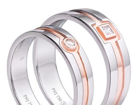 Nhẫn cưới vàng trắng phối vàng hồng đính kim cương tinh tế