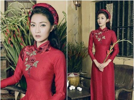 Áo dài cưới đẹp màu đỏ chất liệu lụa thô thêu hoa tinh tế